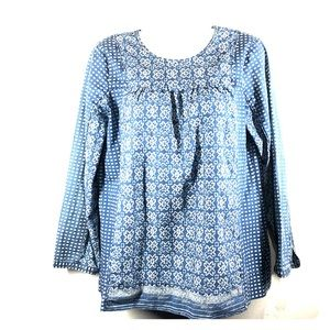 J.Crew blue with white print blouse size 4